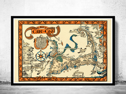 Pictorial,Map,of,Cape,Cod,Illustrated,Massachusetts,1926,map of cape cod, cape cod map, vintage cape cod, cape cod poster, old maps for sale, maps reproductions