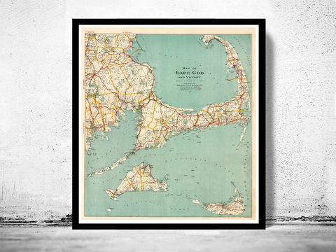Old,Map,of,Cape,Cod,1917,Massachusetts,map of cape cod, cape cod map, vintage cape cod, cape cod poster, old maps for sale, maps reproductions