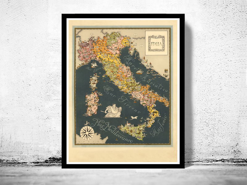 Old Map of Italy Pictorial Map italia - product image