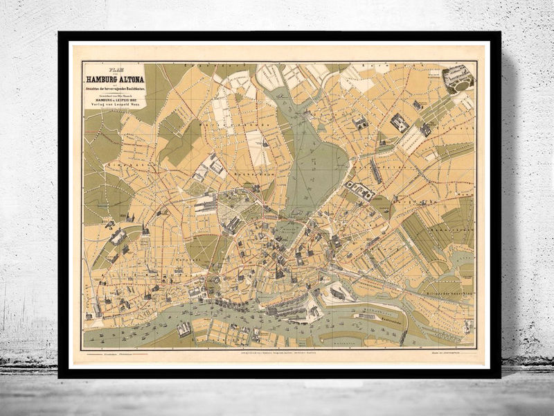 Old Map of Hamburg and Altona, Germany 1882 - product image