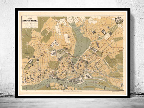 Old,Map,of,Hamburg,and,Altona,1882,Vintage,hamburg, altona, hamburg map, hamburg poster, map of hamburg, hamburg plan, antique map,,antique, map