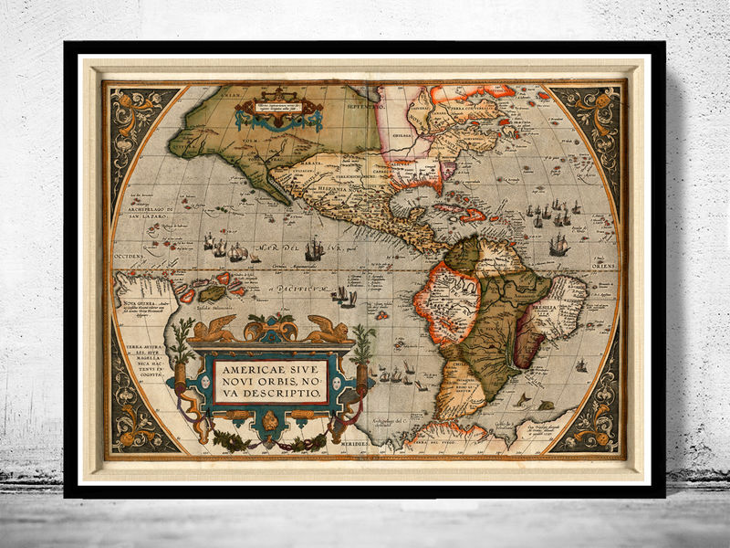 Old Map America Antique 1587 - product image