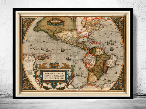 Old,Map,America,Antique,1587,Art,Reproduction,Open_Edition,map,vintage,old_map,antique,South_America,Brasil,Argentina,Peru,Venezuela,south_america_map,america_map,north_america,vintage_map