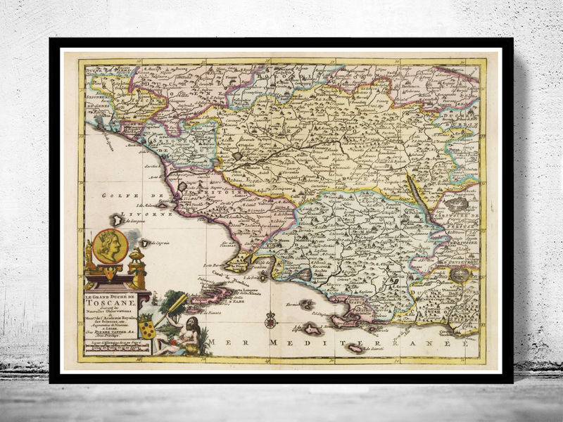 Old Map of Tuscany Toscana Italy 1728 - product image