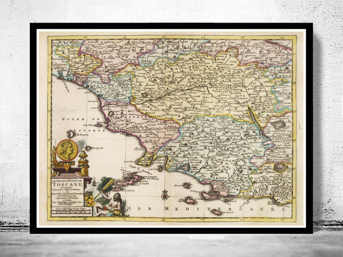 Old Map of Tuscany Toscana Italy 1728 - product images  of