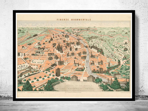 Old,Map,of,Florence,Firenze,Monumentale,1910,Art,Reproduction,Open_Edition,vintage,plan,city_map,retro,antique,Europe,italy,italia,florence,firenze,old_map,vintage_map,vintage_poster, old maps reproductions, old maps for sale, map reproduction