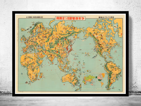 Old,Japanese,World,Map,in,1933,world map, map of the world, atlas of the world, world maps for sale, vintage map of the world