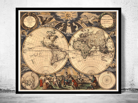 Old,World,Map,Antique,1666,Art,Reproduction,Open_Edition,vintage,World_map,old_map,antique,atlas,world_atlas,vintage_map,hemisphere,old_world_map,medieval,engraving,map_of_the_world