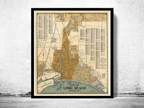 Old,Map,of,Long,Beach,California,1920,map of Long Beach, old map of Long Beach california, Long Beach map, Art,Reproduction,Open_Edition,United_States,panoramic_view,gravure,urban,birdseye,vintage_map,Long Beach,california,old_map,vintage_poster,city_plan,old_gravure, long beach CA
