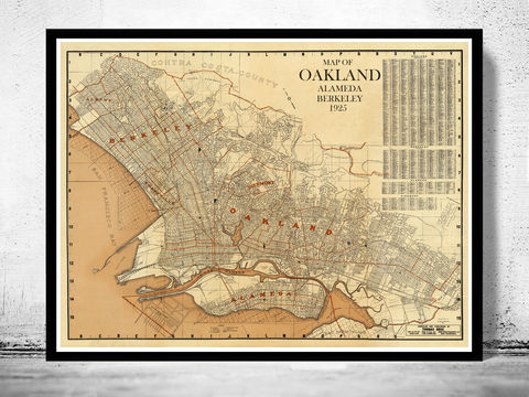 Old,map,Oakland,Alameda,Berkeley,California,1925,oakland, california, map, poster, oakland map, map of oakland, oakland poster, alameda map, berkeley map, oakland alamenda, old maps, maps reproductions