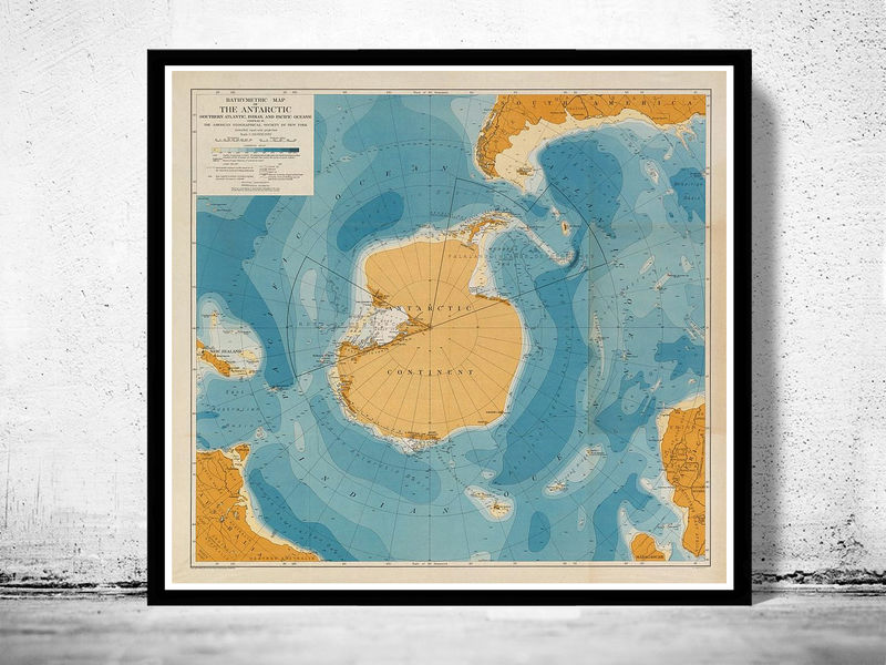 Old Map of Antarctic Continent 1929 - product image