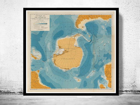 Old,Map,of,Antarctic,Continent,1929,antarctic, antarctic poster, antarctic map, map of antarctic, antartida, antique antarctic