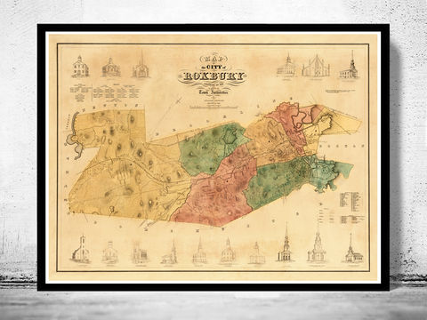 Old,Map,of,Roxbury,Boston,1849,roxbury map, old map of roxbury, roxbury boston, roxbury map, roxbury poster, roxbury print