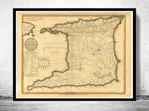 Old,Map,of,Trinidad,Tobago,1800,trinidad, tobago, map of trinidad, trinidad gift, trinidade, trinidad map, trinidad poster, trinidad print, old maps for sale, old map reproductions