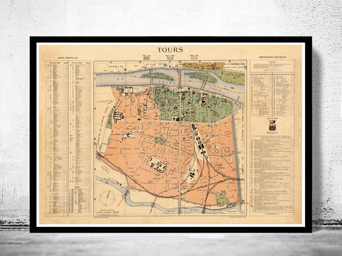 Old,Map,of,Tours,France,1890,Art,Reproduction,Open_Edition,tours_map,map_of_tours,old_map_of_tours,tours_vintage_map,paris_retro,tours_map_guide,monumental_tours,tours_poster,tours_poster_vintage,old_tours, tours france map