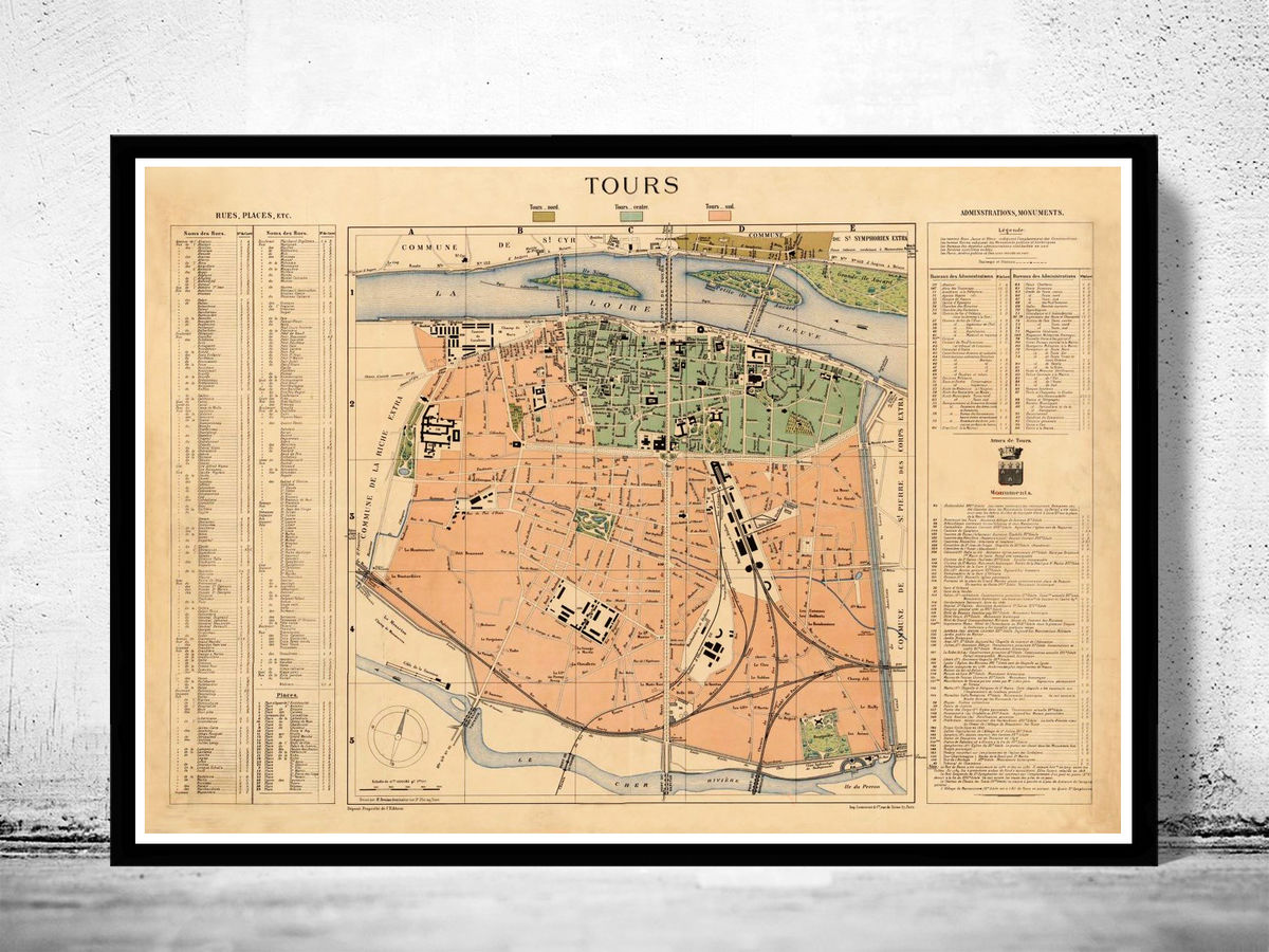 Old Map of Tours France 1890 - product images  of