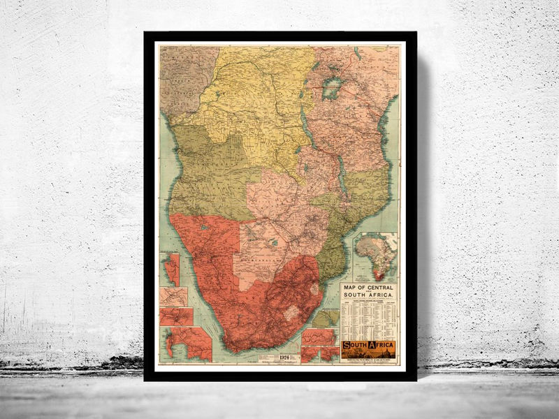 Old Map of South Africa 1924 Central Africa Angola Mozambique - product image