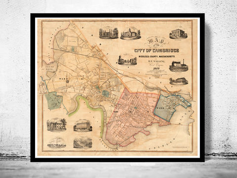 Old,Map,of,Cambridge,,Massachusetts,1854,map of cambridge, cambridge, cambridge massachusetts, cambridge poster, map of cambridge, old map, vintage map