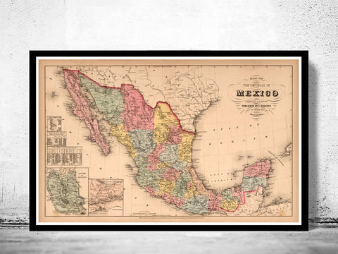 Old,Map,of,Mexico,Republic,1859,Art,Reproduction,Open_Edition,old_map,antique,antique_map,vintage_map,north_america,mexico,united_states_map,Mexican,Central_Railway,map_of_mexico,mexico_map,mexican_poster,mexico_poster