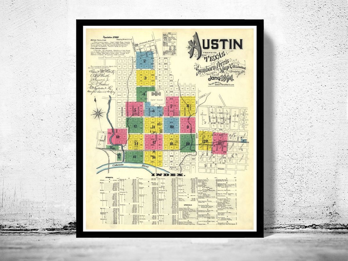 Old map of Austin Texas 1894 - product images  of