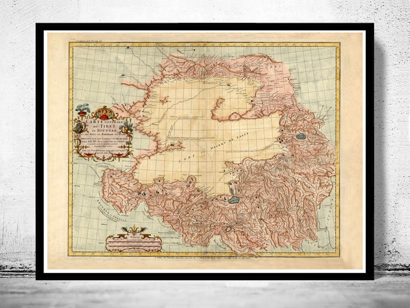 Old Map of Tibet 1737 China - product image