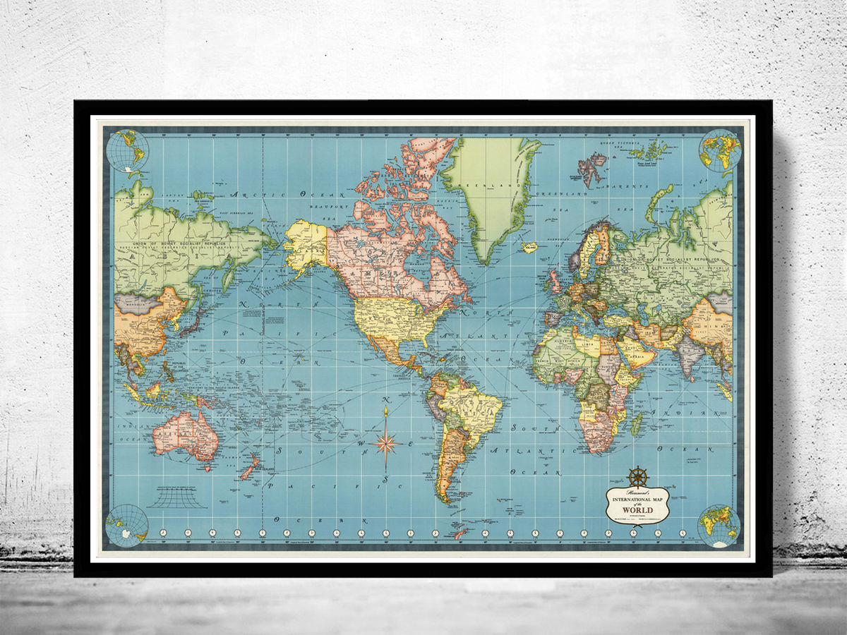 Old World Map Mercator projection - product images  of