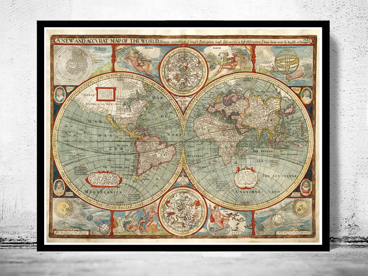 Old World Map 1627 Two Hemispheres - product images  of
