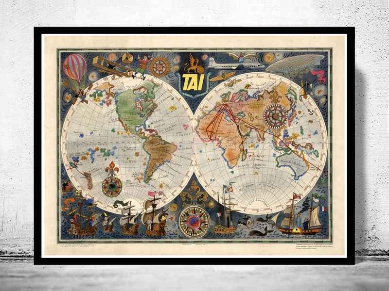 World Map Airlines Vintage Poster - product image