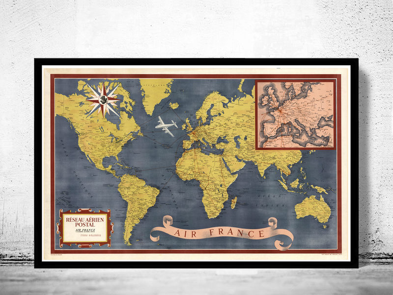 World Map Air France Vintage Poster - product image