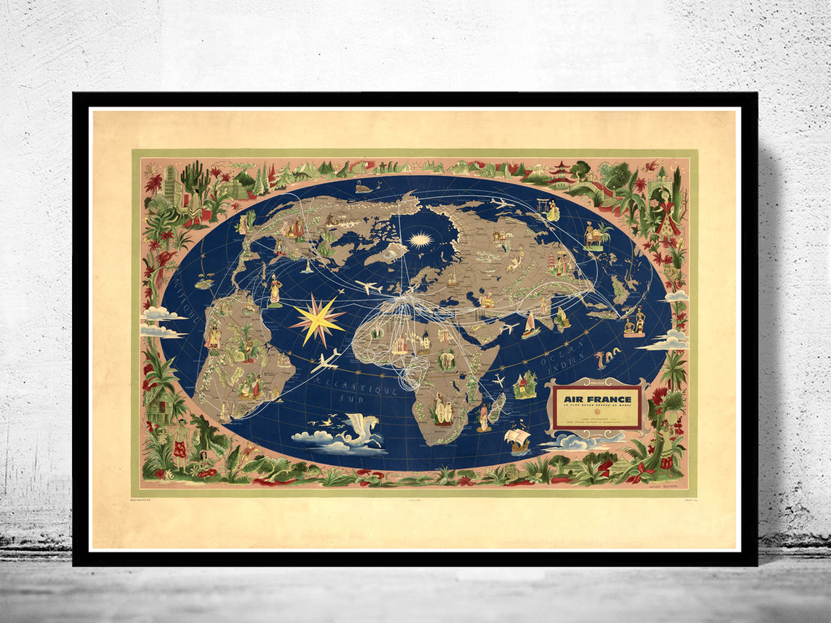 Old World Map Air France Poster 1959 Vintage Map - product images  of