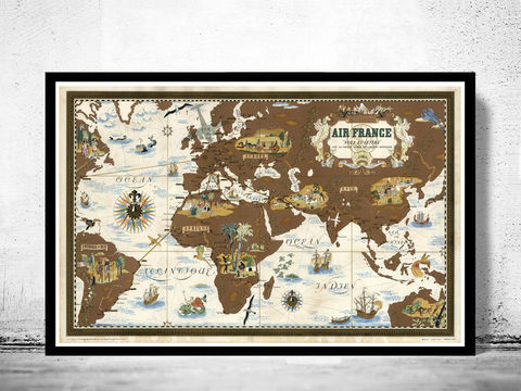 Old,World,Map,Air,France,Poster,1939,Vintage,air france, air france map, air france poster, world map.world map, vintage world map, old world map, vintage look map, maps and atlases