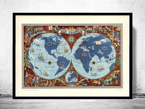 Old,World,Map,Air,France,1952,Poster,air france, air france map, air france poster, world map.world map, vintage world map, old world map, vintage look map, maps and atlases