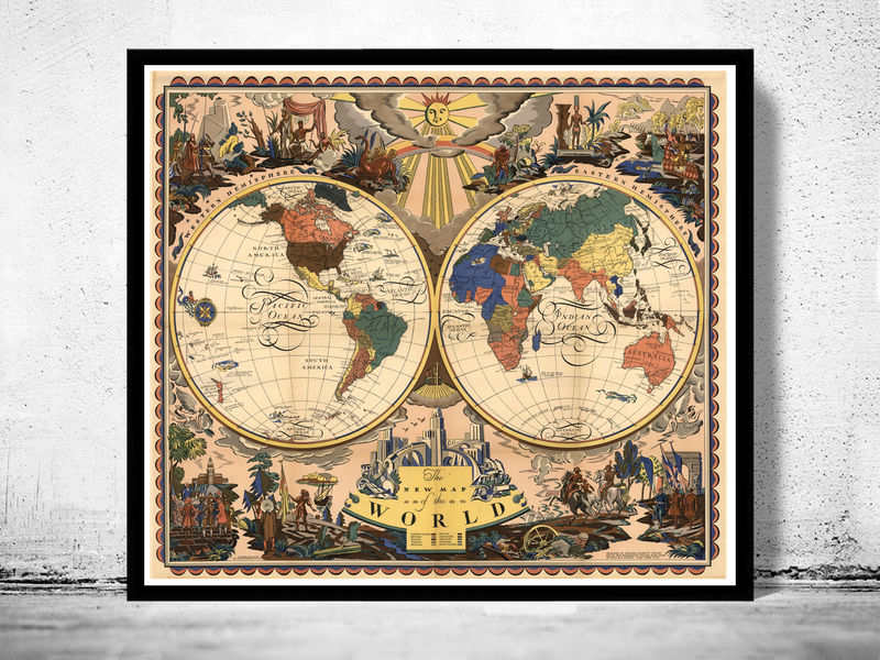 Old World Map Antique 1928 - product image