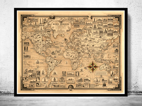 Old,World,Map,Wonders,Vintage,Poster,world wonders, world map.world map, vintage world map, old world map, vintage look map, maps and atlases