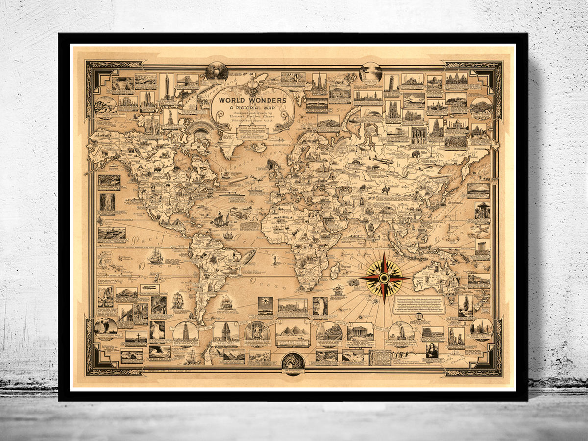 Old World Map Poster Old World Map World Wonders Vintage Poster   VINTAGE MAPS AND PRINTS