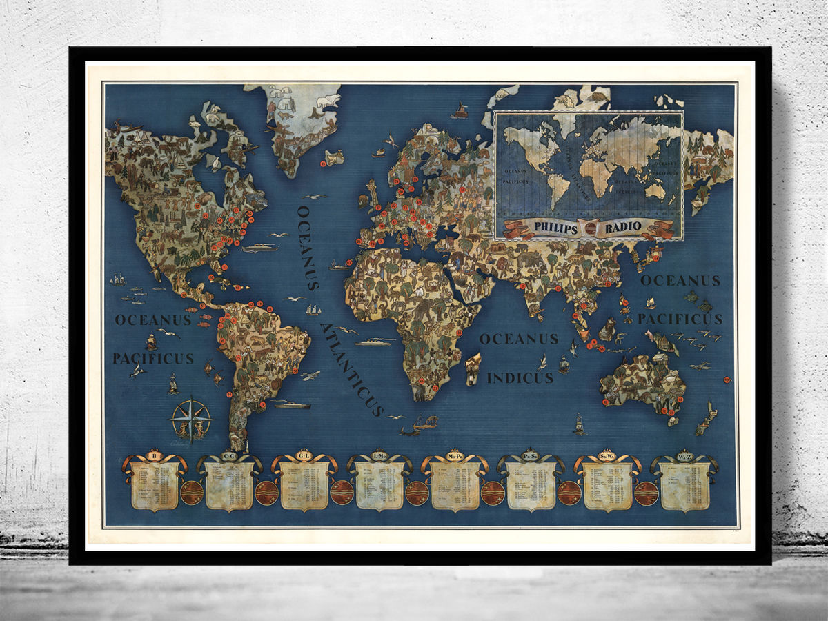 Marvellous World Map Philips Radio Mercator projection - product images  of