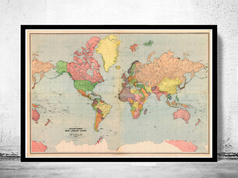 Old World Map Atlas Vintage World Map 1913 Mercator projection - product image