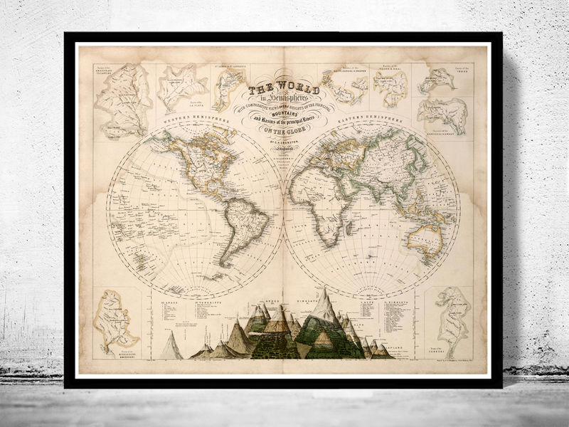 Old World Map 1862 Mercator projection - product image