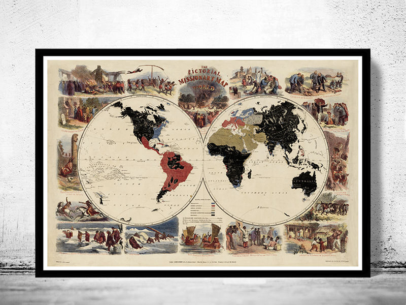 Old World Map pictorial missionary 1861 - product image