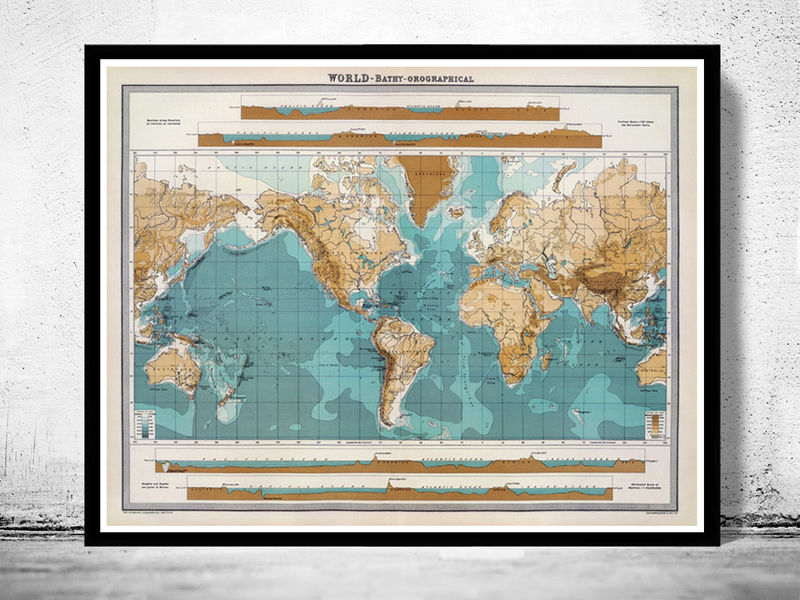 Vintage World Map bathy-orographical 1922 - product image