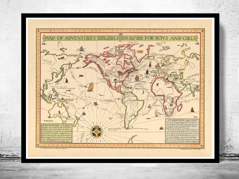 Old World Map Atlas Vintage Antique 1925 - product image