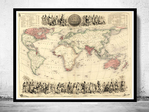 Old,World,Map,1850,Vintage,Art,Reproduction,Open_Edition,World_map,old_map,antique,atlas,Asia,europe,america,oceania,vintage_map,engraving,globe,map_of_the_world,world_map_poster