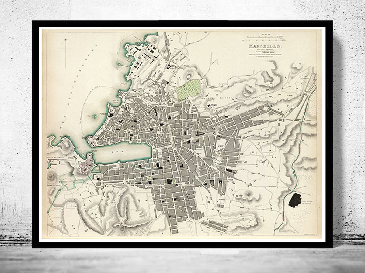 Old Map of Marseille France 1840 Vintage Map of Marseille - product images  of