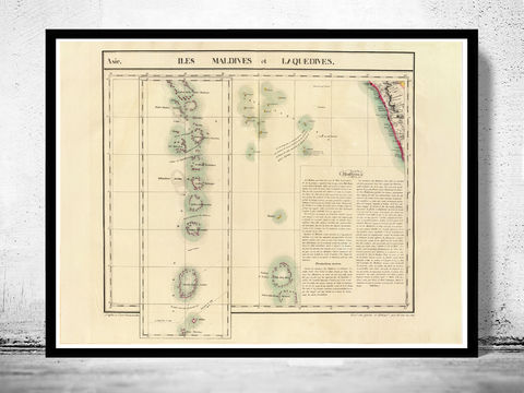 Old,Map,of,Maldives,Islands,1827,map of maldives, maldives, maldives map, maldives islands, maldives poster, athens poster, antique print, antique map