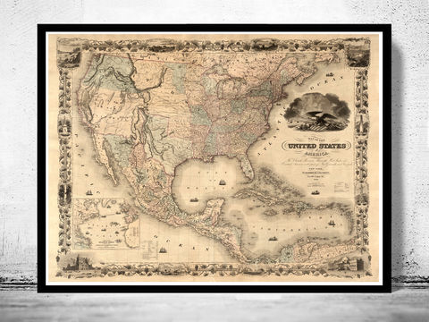 Antique,Map,of,United,States,1850,united states map, united states poster, united states of america, USA map, map of US, map of United states