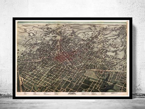 Old,Atlanta,Panoramic,Birdseye,View,1892,atlanta city, atlanta poster, atlanta map, map of atlanta, atlanta decor, vintage atlanta