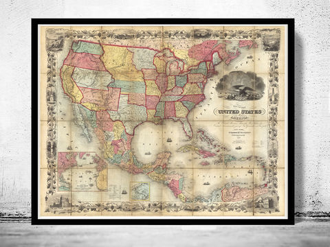 Old,Map,of,United,States,1857,Vintage,united states map, united states poster, united states of america, USA map, map of US, map of United states