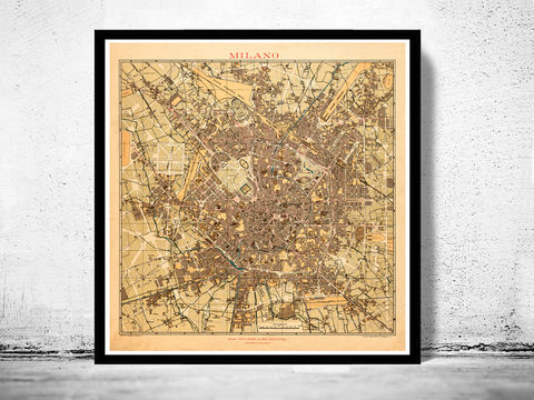 Old,Map,of,Milan,Milano,,City,Plan,Italia,1910,Antique,Vintage,Italy,milan, milano, milan map, milano italia, italy milan, vintage, map
