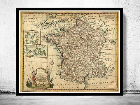 Old,Map,of,France,1747,Antique,map,historical map  , vintage map  , vintage poster , map of france , france  , old map france , france poster , france vintage , france country map , paris vintage  , antique france  , french art  , french
