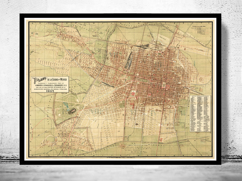 Old Map of Mexico City,  Mexico 1907 - product image